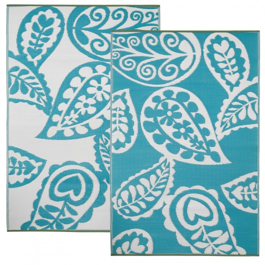 Paisley River Blue and White Outdoor Mat