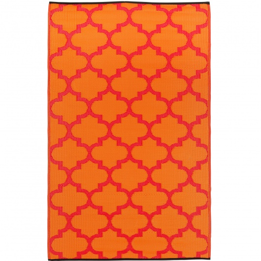 Tangier Orange Peel and Rouge Red Outdoor Mat