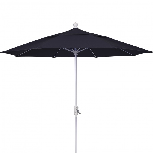 9 Ft Crank Lift Patio Umbrella with White Pole