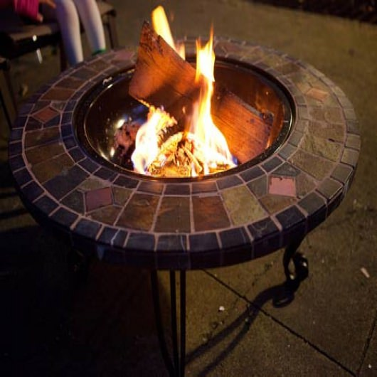 34 in. Slate and  Marble Fire Pit with Copper Tile Accents
