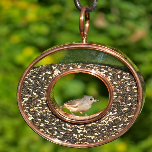 Fly-Thru Bird Feeder - Polished Copper