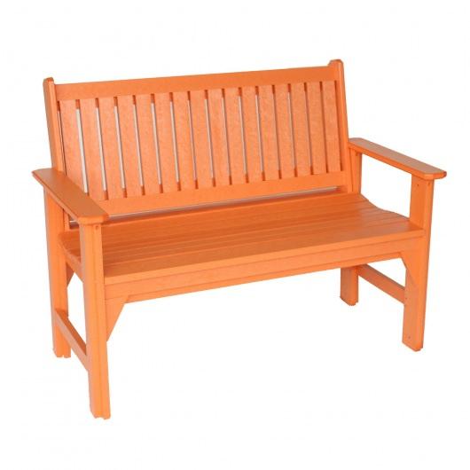 Orange Poly Lumber Adirondack Garden Bench