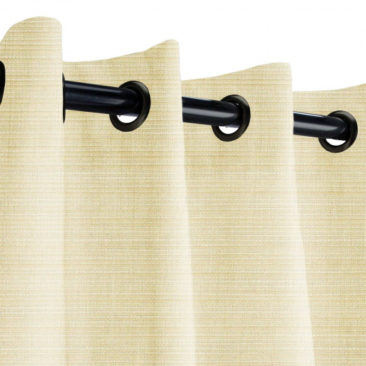 Sunbrella Dupione Pearl Outdoor Curtain with Dark Gunmetal Grommets 50 in. x 96 in.