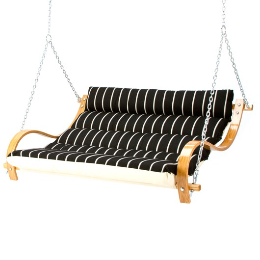 Deluxe Cushioned Double Swing - Classic Black Stripe