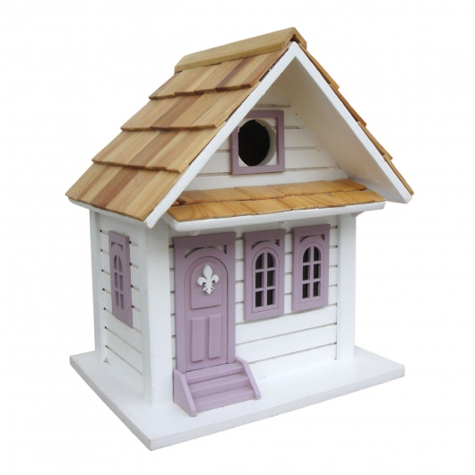 Shotgun Cottage Birdhouse - White With Lavender