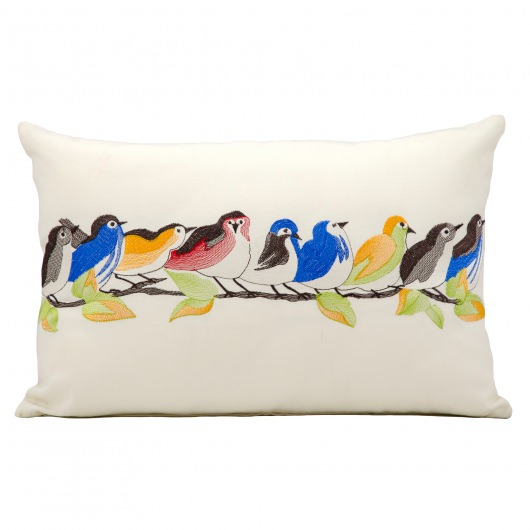 Mina Victory 9 Birds on a Wire White Embriodered Outdoor Pillow
