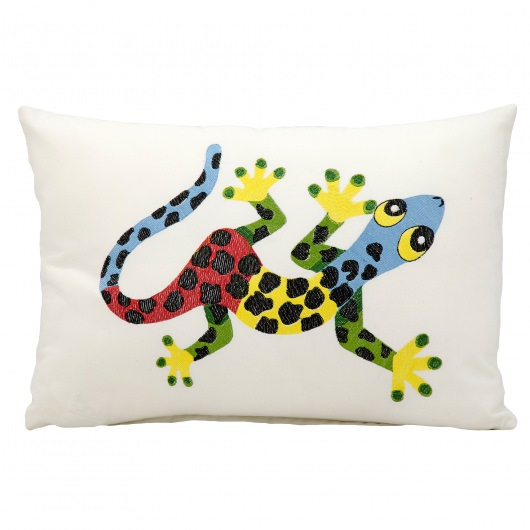 Mina Victory Polka Dot Lizard White Embriodered Outdoor Pillow