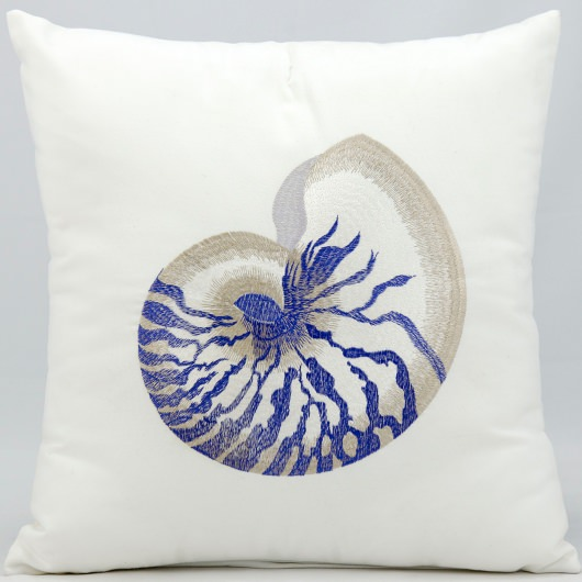 Mina Victory Blue Conch White Embriodered Outdoor Pillow