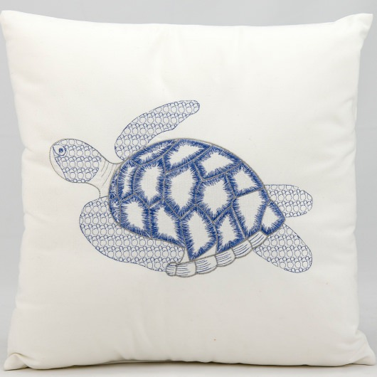 Mina Victory Blue Seaturtle White Embriodered Outdoor Pillow