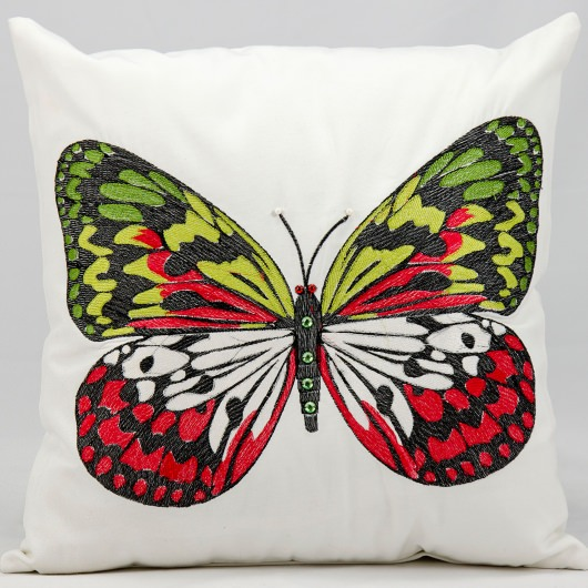 Mina Victory Green Butterfly White Embriodered Outdoor Pillow