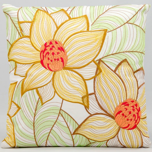 Mina Victory Sunflowers White Embriodered Outdoor Pillow