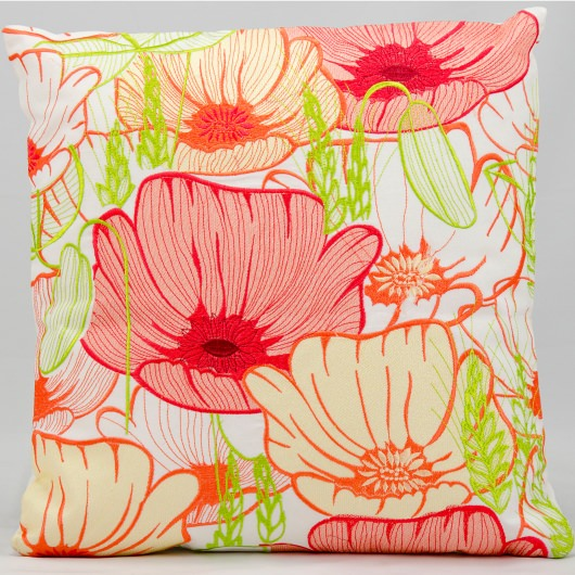 Mina Victory Primrose Flowers White Embriodered Outdoor Pillow