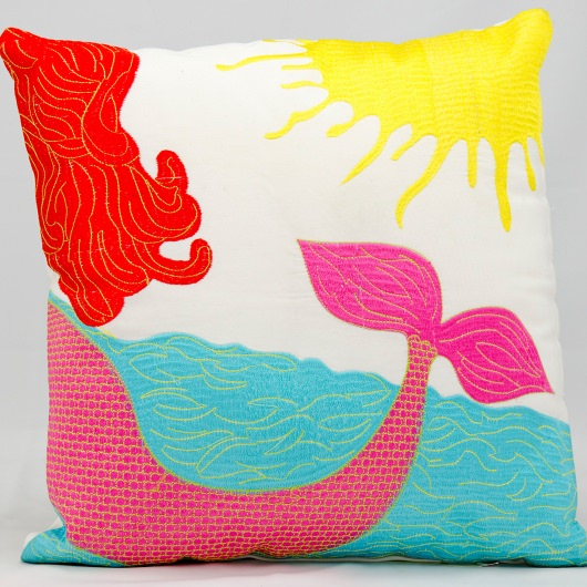 Mina Victory Mermaid Multi Embroidered Outdoor Pillow