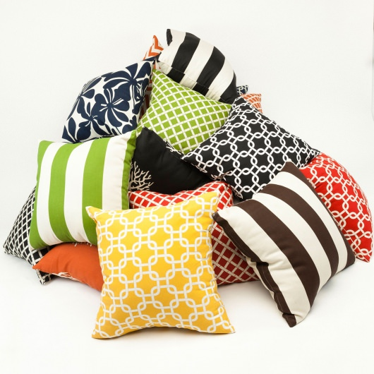 Chocolate Vertical Stripe Large Outdoor Pillow