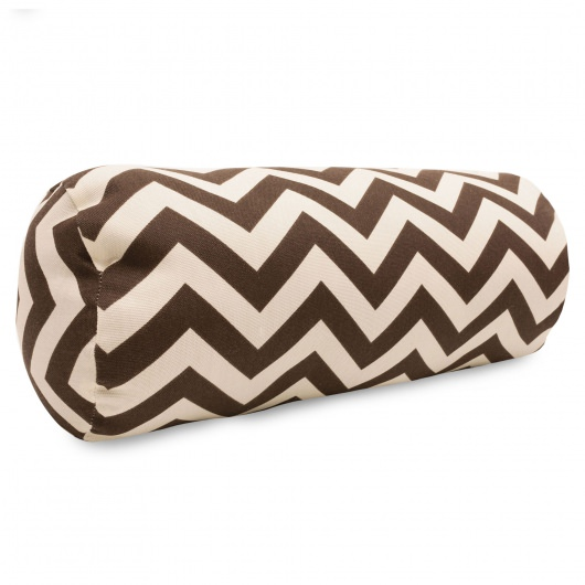 Chocolate Zig Zag Round Bolster Outdoor Pillow