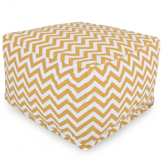 Yellow Zig Zag Large Outdoor Ottoman