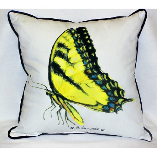 Tiger Swallowtail Butterfly Art Outdoor Pillow 18in x 18in