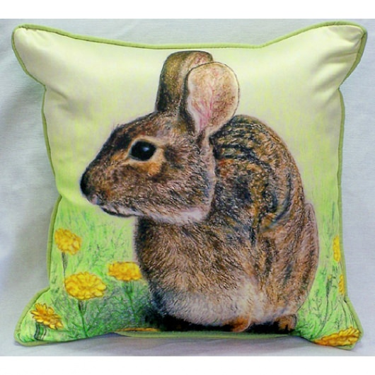Rabbit Art Outdoor Pillow 18in x 18in