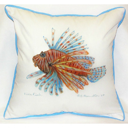 Lion Fish Art Outdoor Pillow