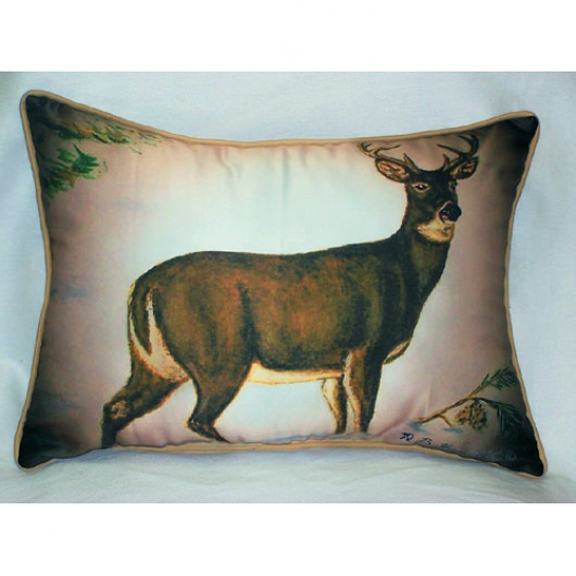 Deer in Snow Art Outdoor Pillow 15 in. x 22 in.