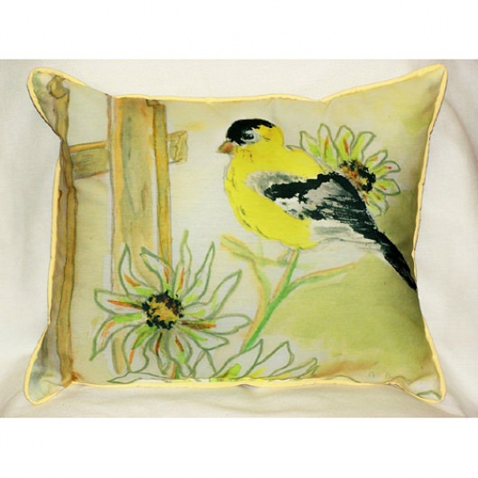 Betsy's Goldfinch Art Outdoor Pillow 16 in. x 20 in.