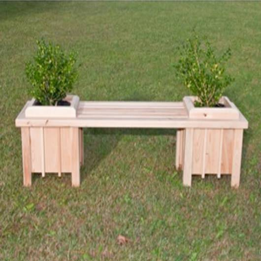 Long Cypress Planter Bench Seat
