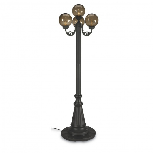 European 80 Inch Four Black Globe Outdoor Lantern Post Lamp Park Style