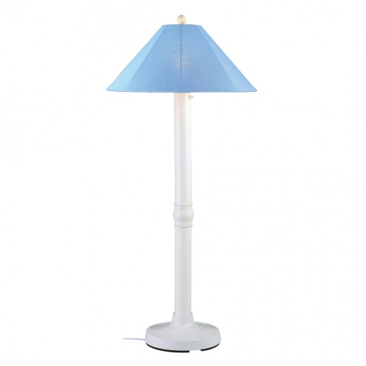 Catalina Outdoor Floor Lamp with White Body and Sunbrella Shade