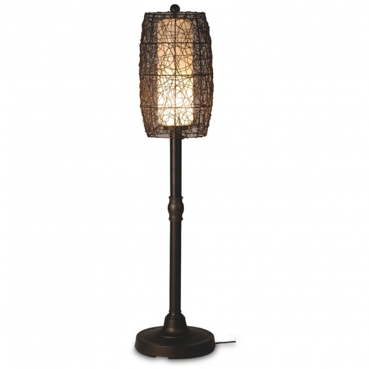 Bristol Floor Lamp 58 in with Bronze Body and Wicker Brown Shade