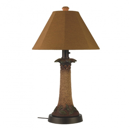 Palm Outdoor Table Lamp with Teak Sunbrella Shade