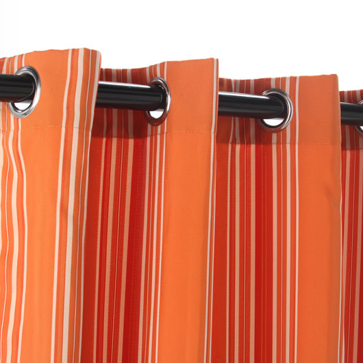 Orange Stripe Gazebo Polyester Outdoor Curtain