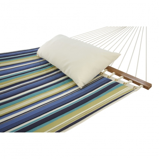 Baltic Blue Stripe Large Quilted Fabric Hammock with Pillow