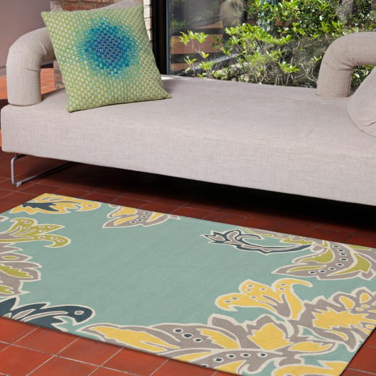 Ravella Ornamental Leaf Border Water Outdoor Rug