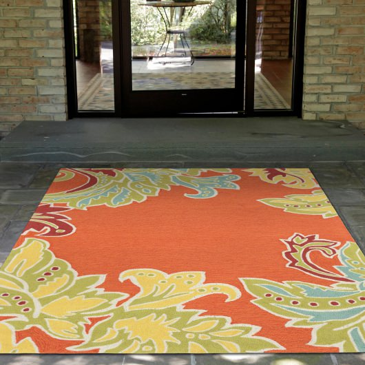 Ravella Ornamental Leaf Border Orange Outdoor Rug