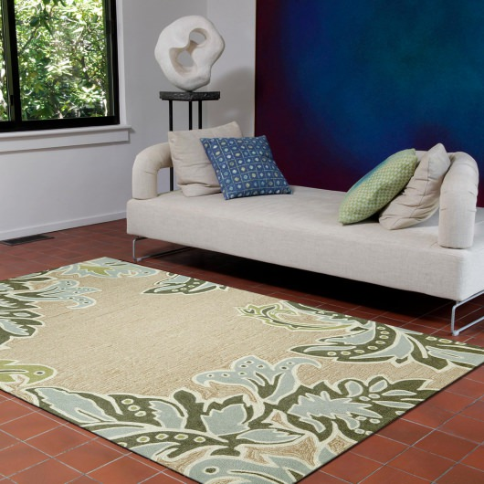 Ravella Ornamental Leaf Border Natural Outdoor Rug