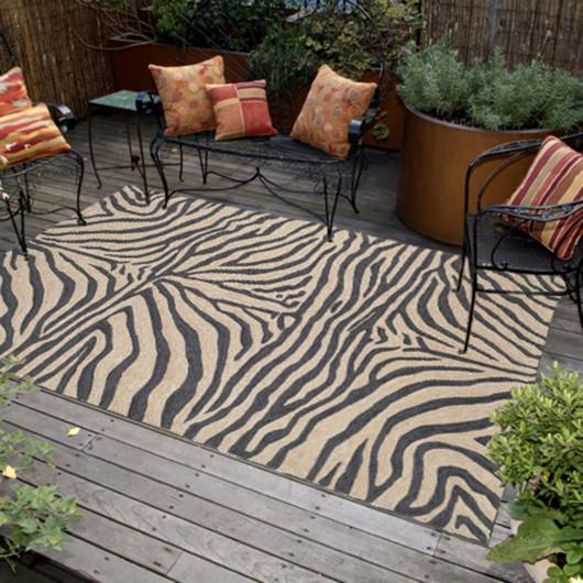 Ravella Zebra Black Outdoor Rug
