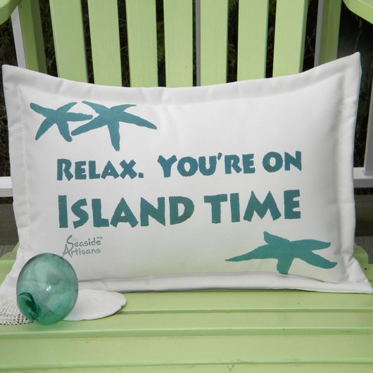 Island Time Green Outdoor Pillow