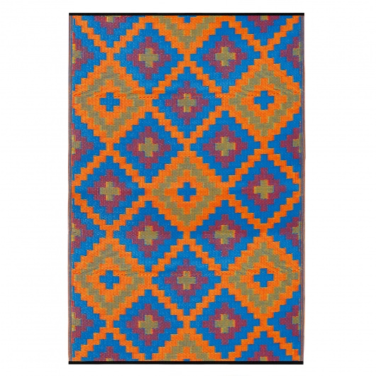 Saman Blue and Orange Outdoor Mat