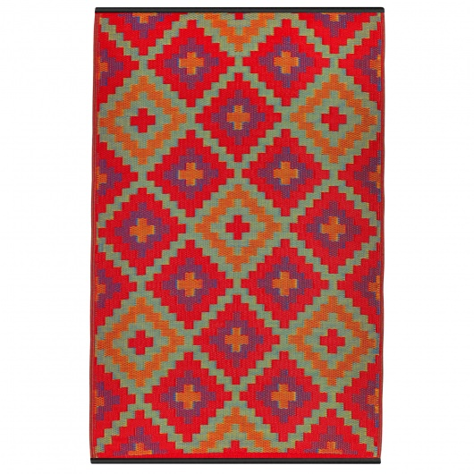 Saman Orange and Violet Outdoor Mat