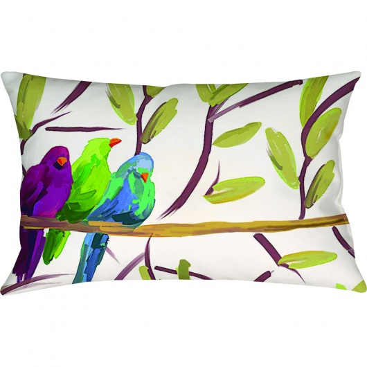 Flocked Together Birds Outdoor Pillow (12