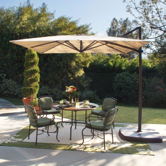 Skye 8.6' Square Sunbrella Cantilever Umbrella with Cross Base