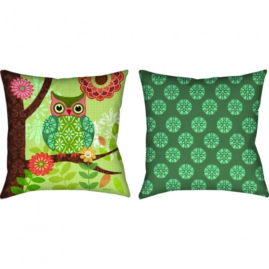 Forest Owls Square Outdoor Pillow (18
