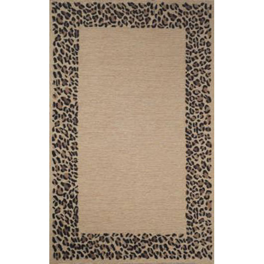 Spello Leopard Border Neutral Square Outdoor Rug (8 Ft)