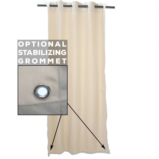 Sunbrella Linen Stone Outdoor Curtain with Tabs