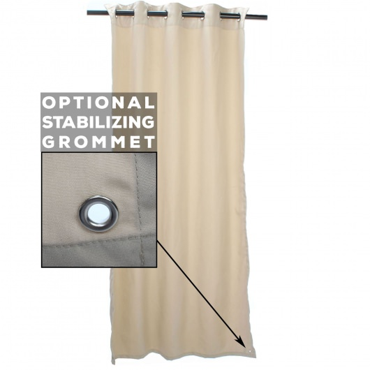 Antique Beige Sunbrella Nickel Grommeted Outdoor Curtain