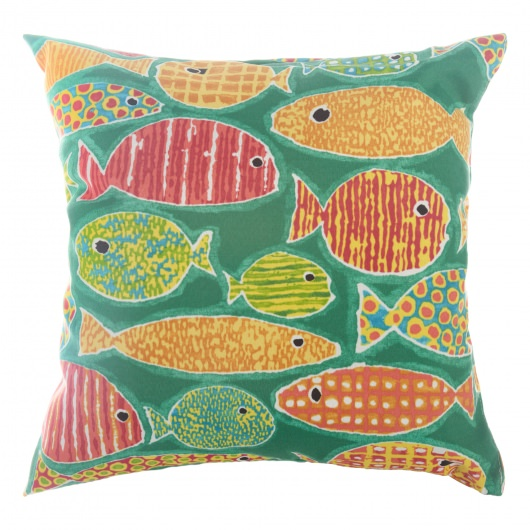 Sunfish Lagoon Indoor/Outdoor Throw Pillow 18 in. x 18 in.