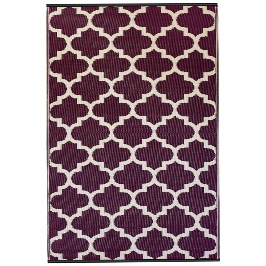 Tangier Plum and White Outdoor Mat