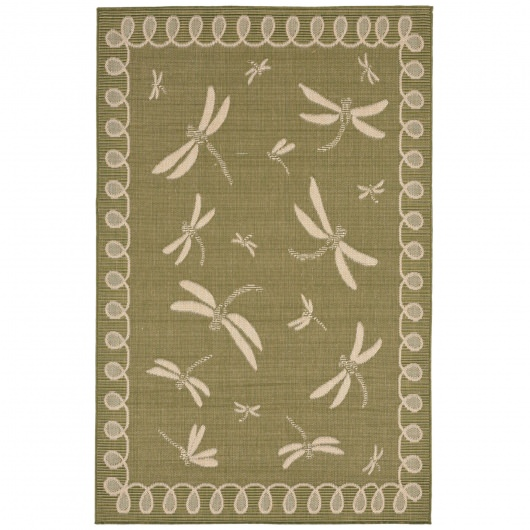 Terrace Dragonfly Green Outdoor Rug