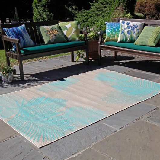 Terrace Palm Turquoise Outdoor Rug