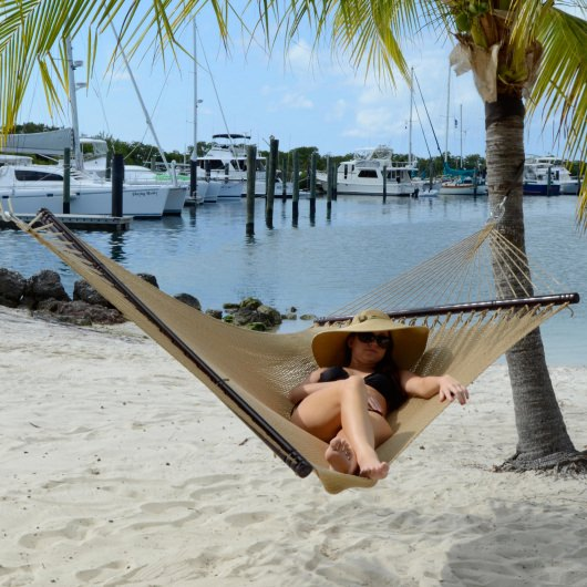 Large Soft Spun Polyester Caribbean Hammock with FREE Hanging Hardware